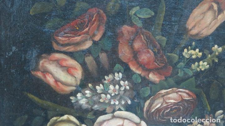 Arte: INTERESANTE BODEGON O FLORERO. OLEO S/LIENZO. SIGLO XVII-XVIII. ESCUELA ESPAÑOLA - Foto 8 - 148292222