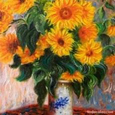 Arte: ÓLEO. GIRASOLES, DE CLAUDE MONET (COPIA).. Lote 148304826
