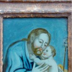 Arte: ÓLEO BAJO CRISTAL -S. JOSÉ CON EL NIÑO-. ESC. BARROCA SEVILLANA, FINALES S. XVII. DIM.-31.5X26,5 CMS. Lote 148573630