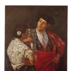 Arte: TORERO CON MUJER ANDALUZA QUE LE OFRECE VASO DE AGUA, ESPECTACULAR, FIRMADO ROMERO -A. Lote 148677342