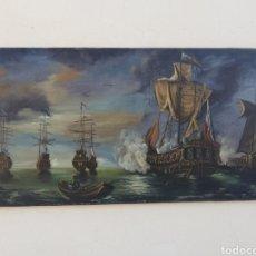 Arte: GRAN CUADRO ANTIGUO FIRMADO PINTADO AL OLEO SOBRE TELA DE BATALLA NAVAL TRAFALGAR. 120 X 60CM. Lote 148733150