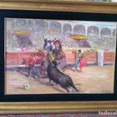 Arte: PINTURA AL OLEO DE MOTIVO TAURINO.PINTOR JOSE PUENTE.MEDIDAS .PINTURA 80X50.MARCO 1,18CM X 88CM. Lote 148763042