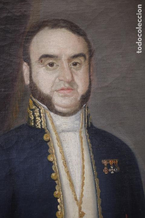 Arte: Retrato de militar o embajador, tela: 57x78 cm. Marco: 78x100 cm. Siglo XIX. España, ver fotos. - Foto 2 - 148769722