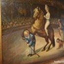 Arte: OLEO ANTIGUO CIRCO ESCENA CON PUBLICO PINTURA EN TABLA, MED. 76 X 69 CENTIMETROS. Lote 124559783