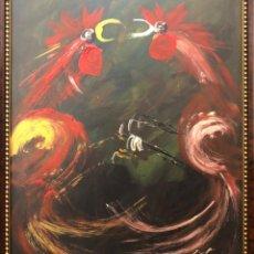 Arte: MANUEL VIOLA: ÓLEO SOBRE TABLA (PELEA DE GALLOS) 48 X 58 CM SIN MARCO. Lote 148848558