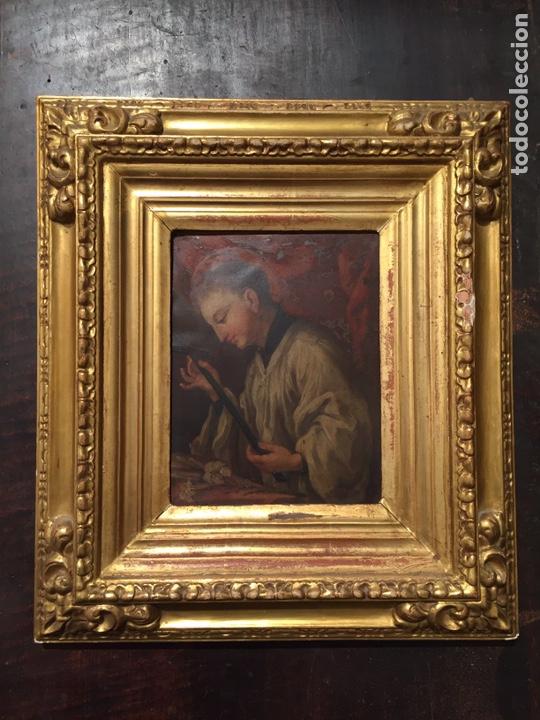 PINTURA SOBRE COBRE DE SAN LUIS GONZAGA (1568-1591) S.XIX (Arte - Pintura - Pintura al Óleo Moderna siglo XIX)
