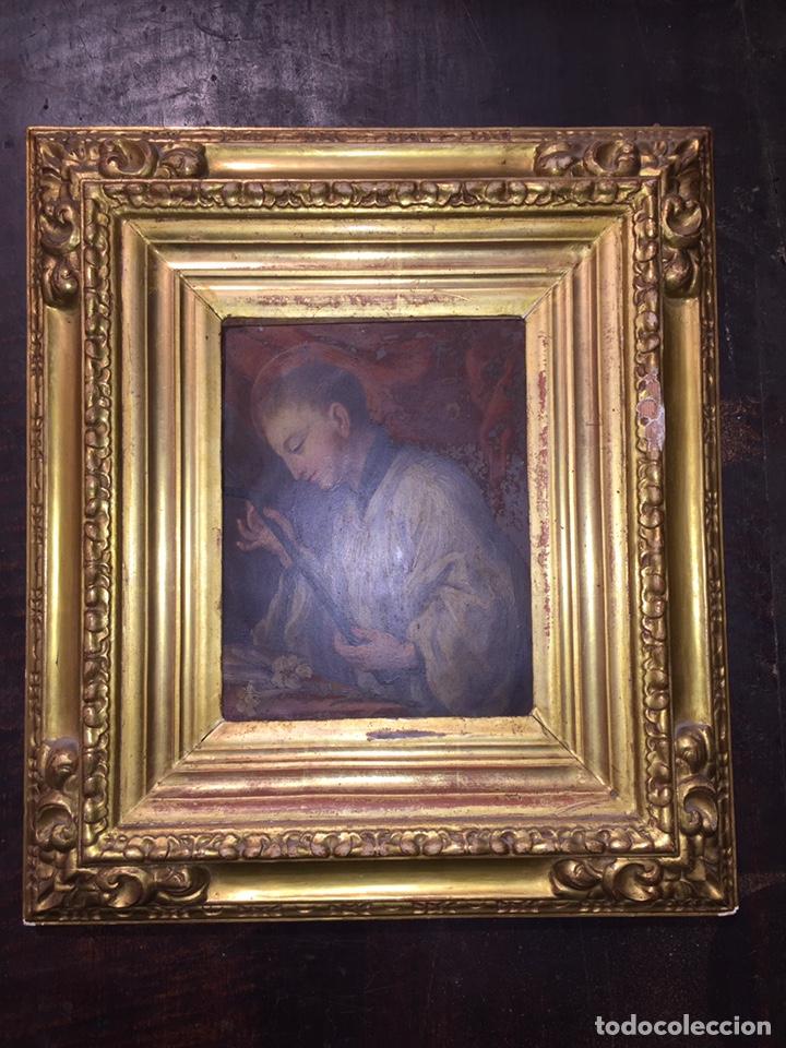 Arte: Pintura sobre cobre de SAN LUIS GONZAGA (1568-1591) S.XIX - Foto 2 - 148904365