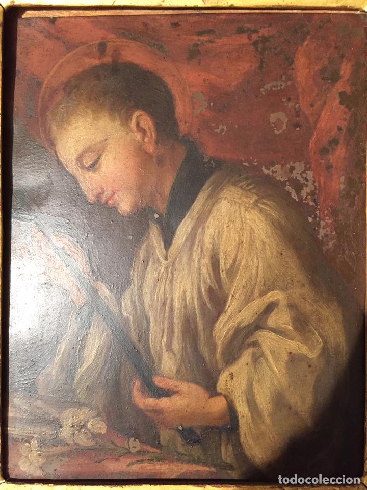 Arte: Pintura sobre cobre de SAN LUIS GONZAGA (1568-1591) S.XIX - Foto 3 - 148904365