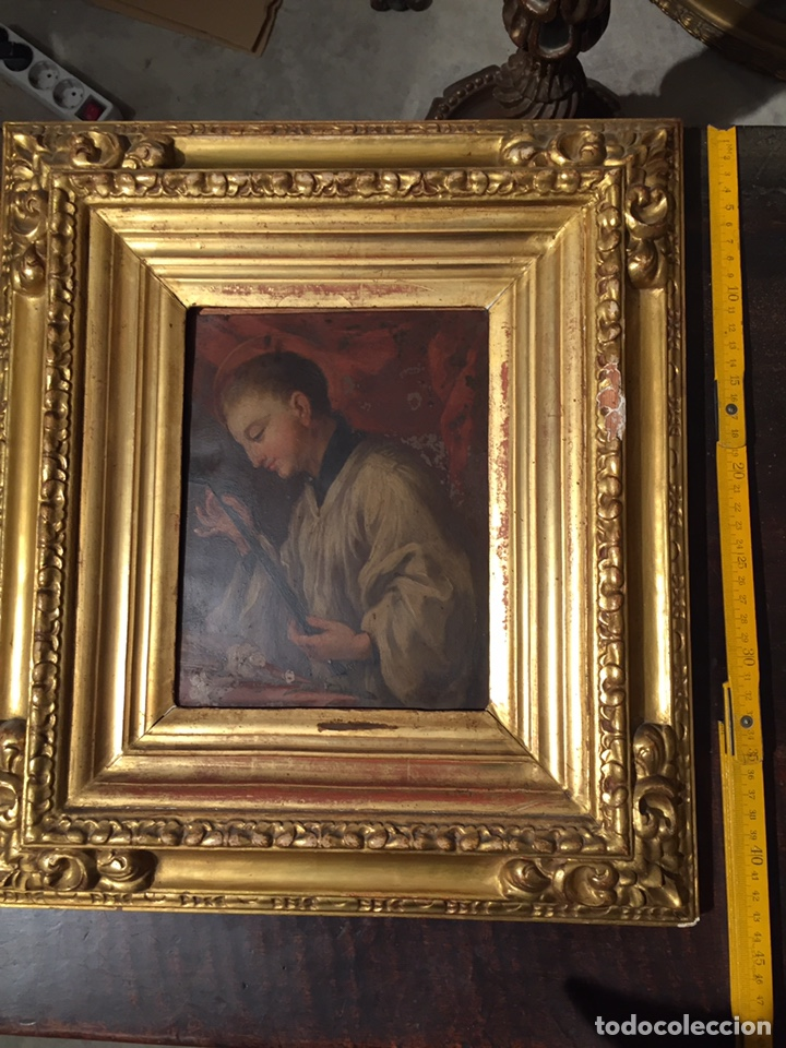 Arte: Pintura sobre cobre de SAN LUIS GONZAGA (1568-1591) S.XIX - Foto 9 - 148904365