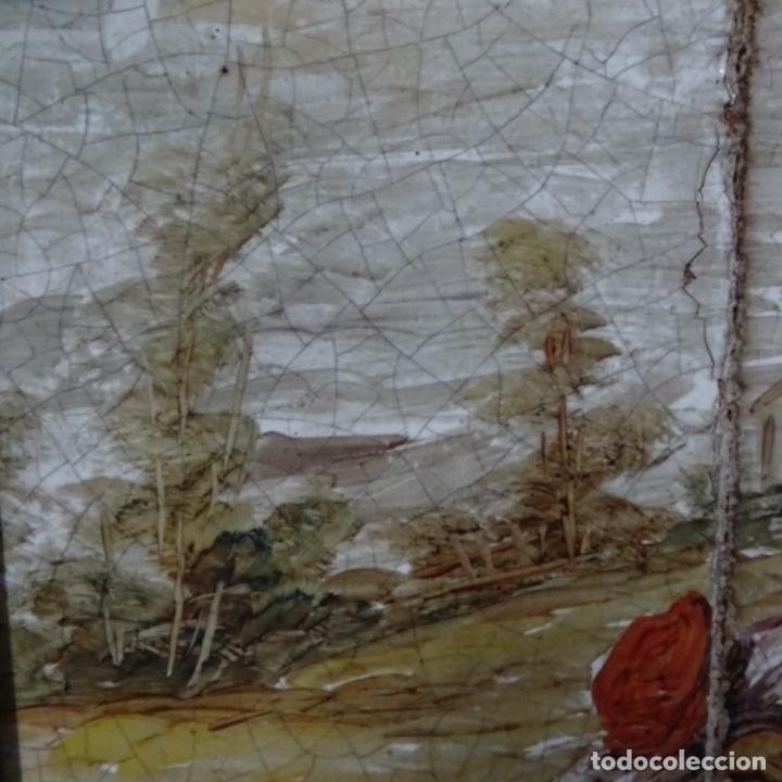 Arte: Óleo sobre azulejo escuela centroeuropea firmado j.m. Ros.sigloxvii-xx. - Foto 4 - 148996442