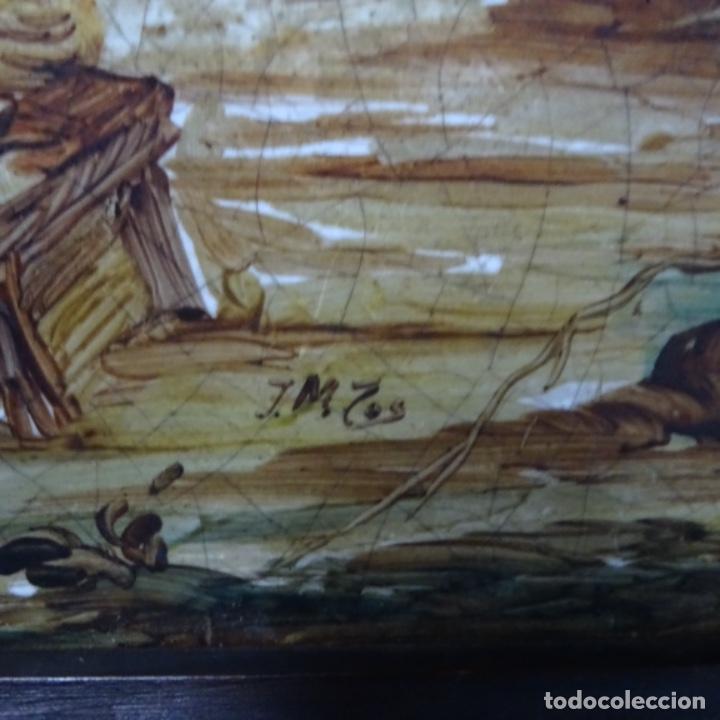 Arte: Óleo sobre azulejo escuela centroeuropea firmado j.m. Ros.sigloxvii-xx. - Foto 10 - 148996442