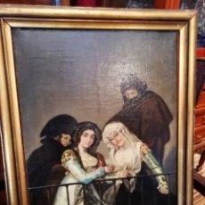 Arte: ÓLEO SOBRE LIENZO SIGLO XIX MAJAS EN EL EL BALCÓN. Lote 149222428