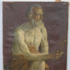 Arte: INTERESANTE ESTUDIO ACADEMICO. HOMBRE POSANDO COMO SAN JERONIMO. OLEO S/ LIENZO. PPIOS. SIGLO XX. Lote 149238494