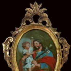 Arte: ANTIGUO ÓLEO SOBRE CRISTAL DE SAN JOSÉ CON EL NIÑO JESÚS. CORNUCOPIA ORO FINO. SIGLO XVIII. 52X38 CM. Lote 147991190