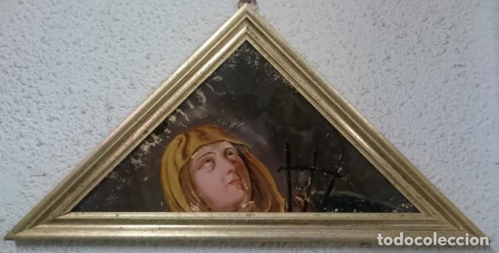 Arte: Antiguo óleo bajo/sobre cristal Virgen dolorosa con puñales. Marco oro fino. Siglo XVII. 68x34cm - Foto 2 - 149330754