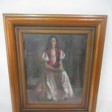 Arte: PINTURA - ÓLEO SOBRE TABLEX - RETRATO - MARCO DE MADERA DORADO - FIRMA. Lote 149334778