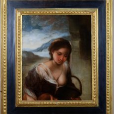 Arte: PASTORA OLEO LIENZO FRAGMENTO ADORACION DE LOS PASTORES DE MURILLO BELLAS ARTES SEVILLA SIGLO XVIII. Lote 149344770