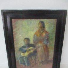 Arte: PINTURA - ÓLEO SOBRE TELA - CANTADORA Y GUITARRISTA - CON MARCO . Lote 149348358
