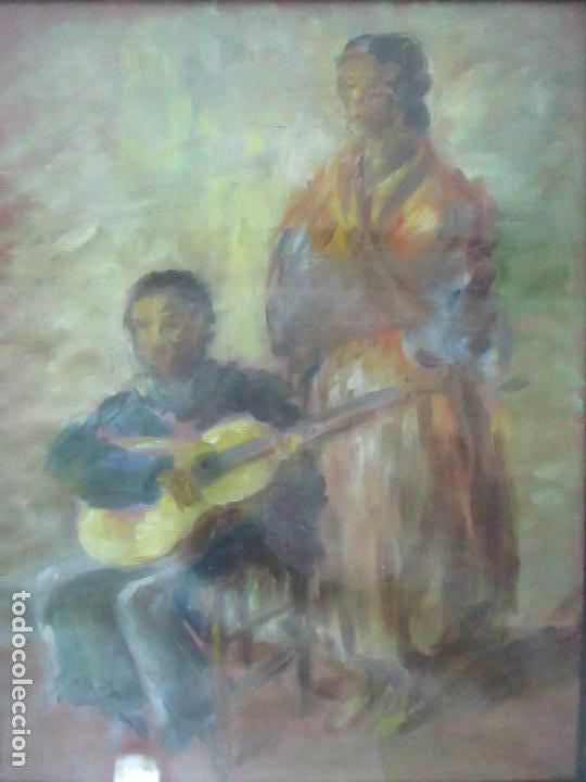 Arte: Pintura - Óleo sobre Tela - Cantadora y Guitarrista - con Marco - Foto 2 - 149348358