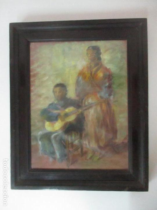 Arte: Pintura - Óleo sobre Tela - Cantadora y Guitarrista - con Marco - Foto 6 - 149348358