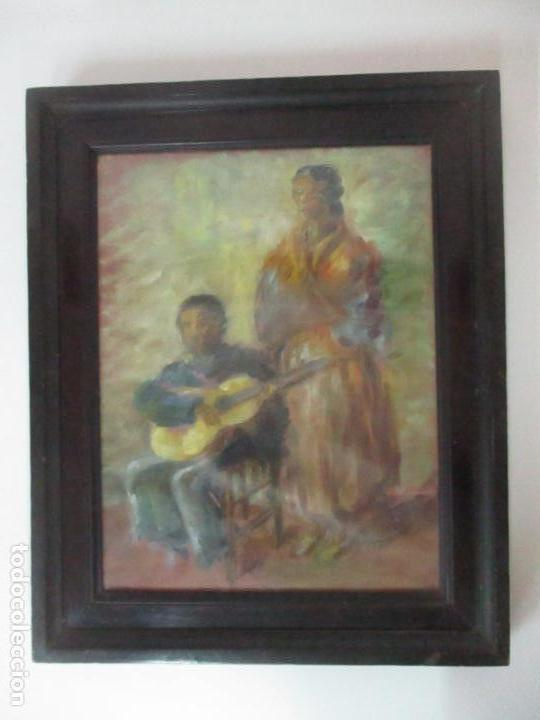 Arte: Pintura - Óleo sobre Tela - Cantadora y Guitarrista - con Marco - Foto 11 - 149348358