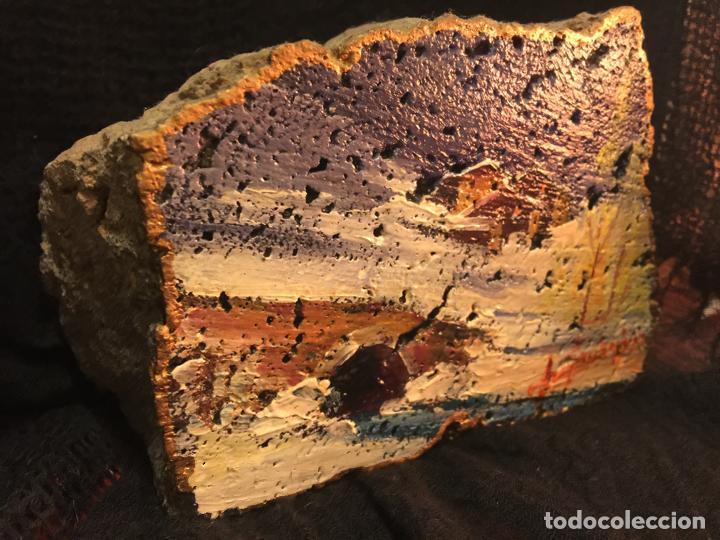 Arte: Original oleo pintado sobre una piedra volcanica de basalto, de la cantera Ortiz, pieza unica. - Foto 3 - 149380654