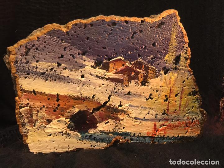 Arte: Original oleo pintado sobre una piedra volcanica de basalto, de la cantera Ortiz, pieza unica. - Foto 4 - 149380654