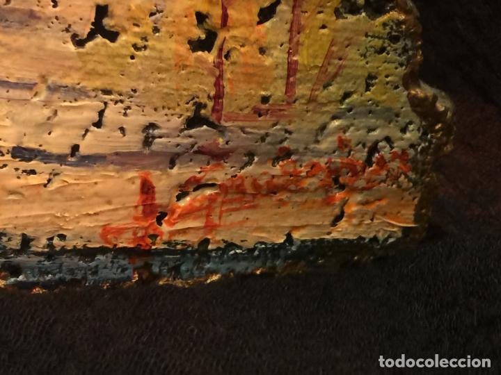 Arte: Original oleo pintado sobre una piedra volcanica de basalto, de la cantera Ortiz, pieza unica. - Foto 6 - 149380654