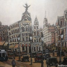Arte: GRAN VIA MADRID 1920 CON TRANVIA. CUADRO EXCLUSIVO SOBRE MADERA 100X70 CM. PINTOR ALCALA. Lote 149394062