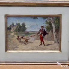 Arte: HERMOSA MINIATURA- J. SERRA Y PORSON ( 1828-1910)- ÓLEO SOBRE CARTON. Lote 149461298