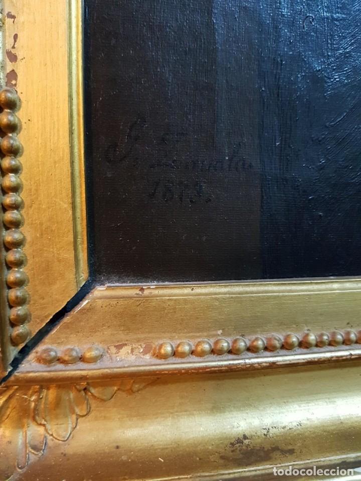 Arte: Oleo sobre lienzo. Firmado Zavala 1873. Enmarcado. Retrato dedicado a su hermana Pilar en dorso - Foto 4 - 149516686