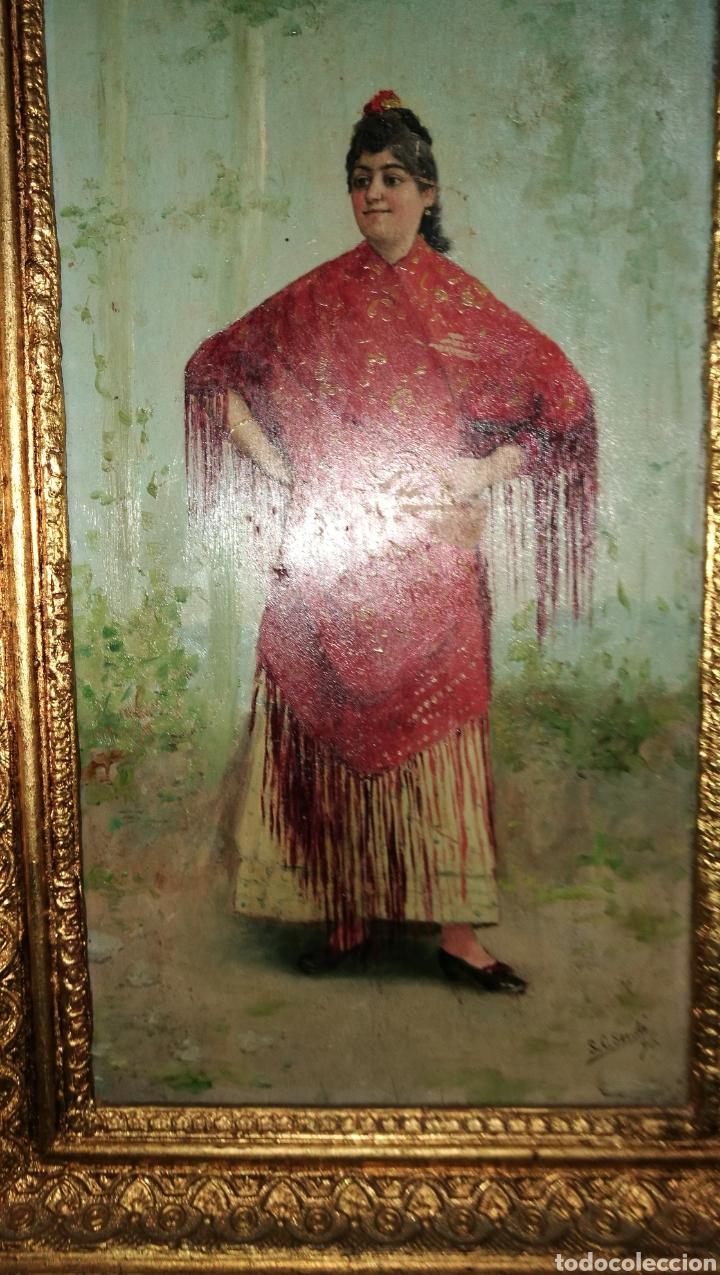 Arte: ANTIGUA PINTURA AL OLEO SOBRE TABLA MARCO DORADO - Foto 7 - 149519844