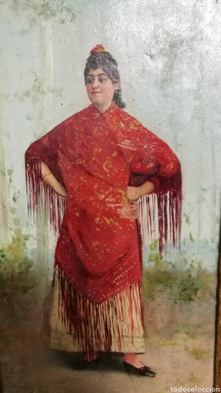 Arte: ANTIGUA PINTURA AL OLEO SOBRE TABLA MARCO DORADO - Foto 4 - 149519844