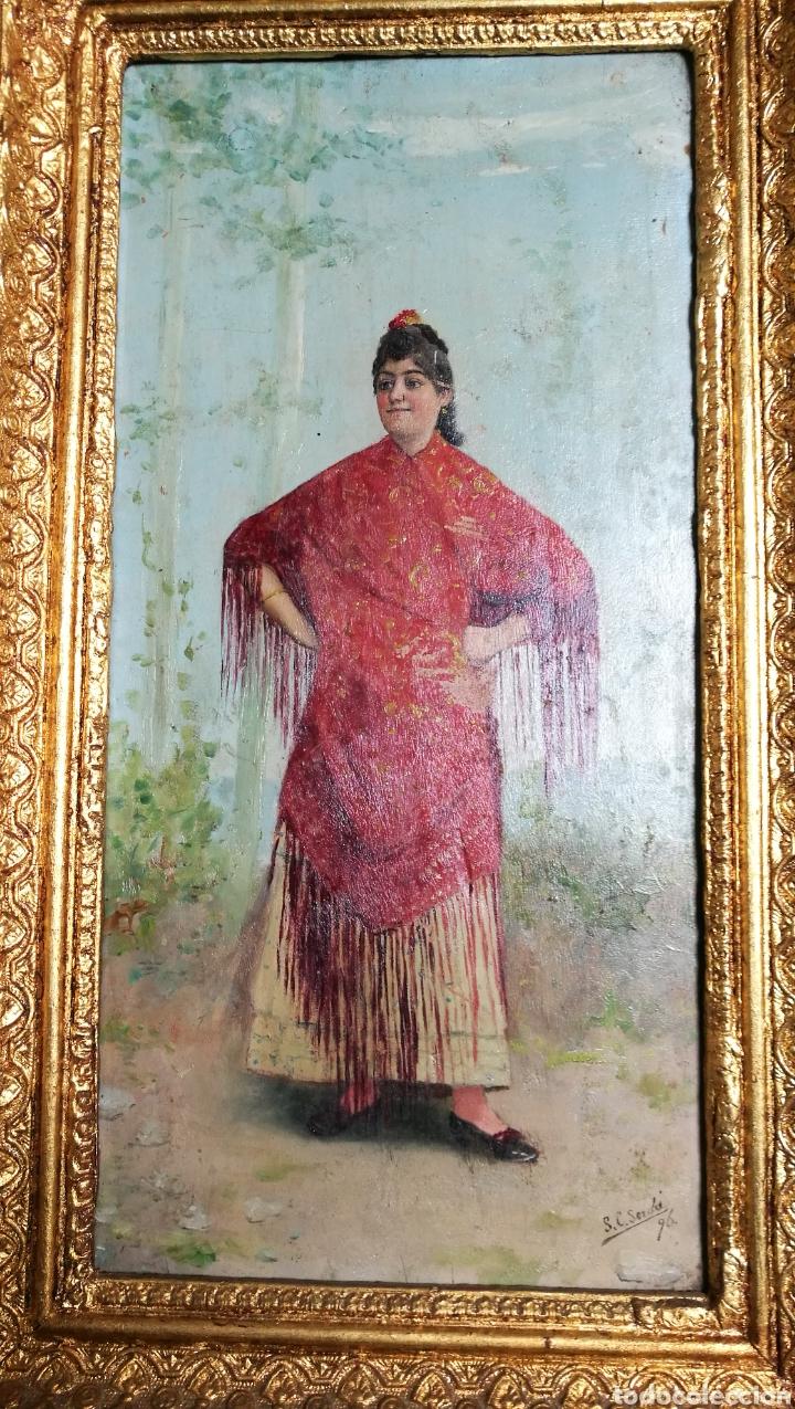 Arte: ANTIGUA PINTURA AL OLEO SOBRE TABLA MARCO DORADO - Foto 3 - 149519844