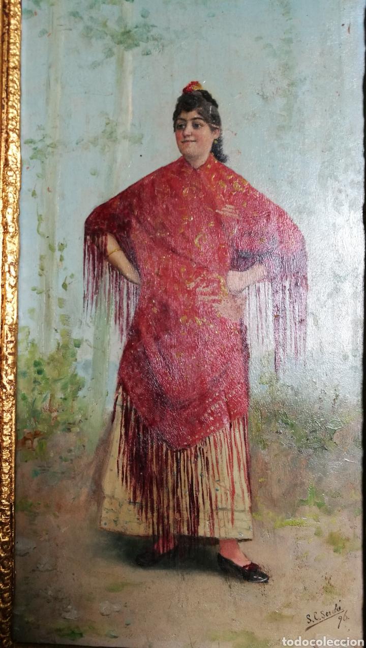 Arte: ANTIGUA PINTURA AL OLEO SOBRE TABLA MARCO DORADO - Foto 8 - 149519844