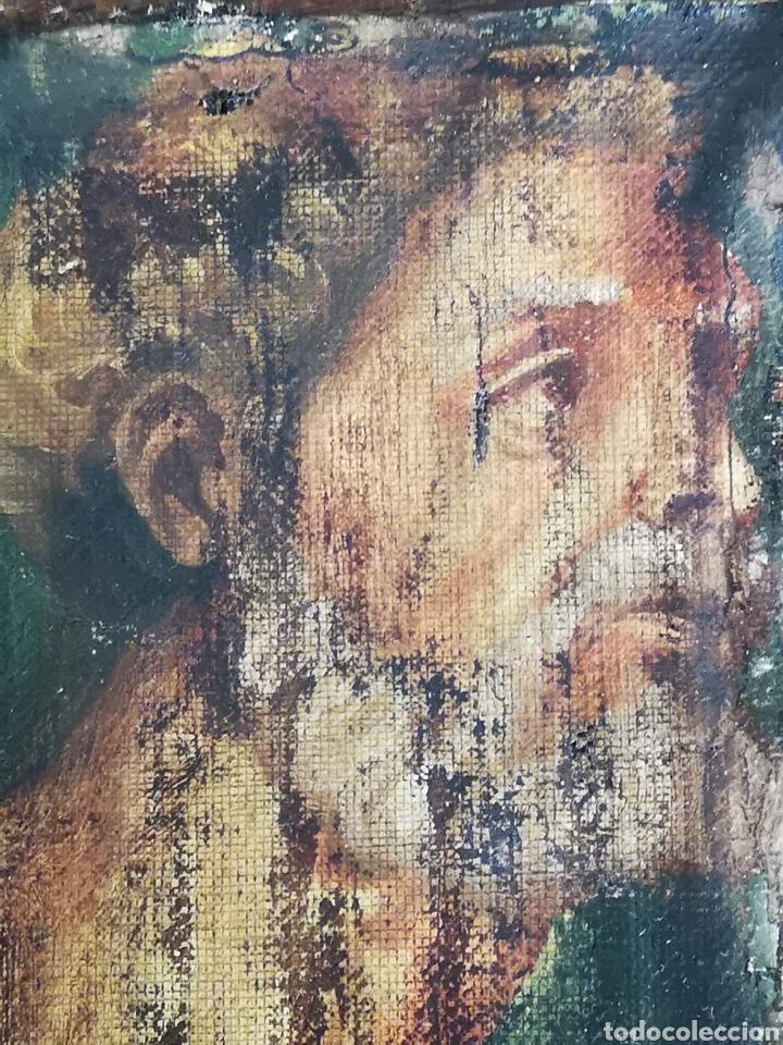 Arte: Interesante fragmento de obra al oleo sobre lienzo, retrato masculino, 9x13cm muy antiguo - Foto 3 - 149603205