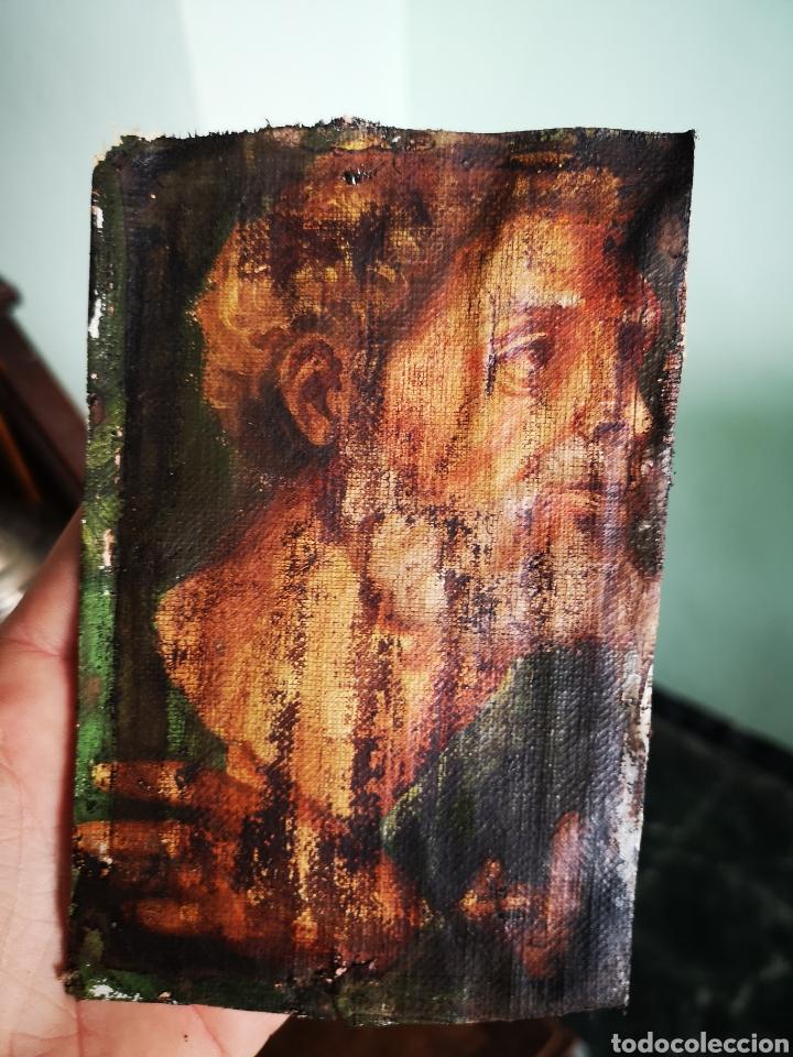 INTERESANTE FRAGMENTO DE OBRA AL OLEO SOBRE LIENZO, RETRATO MASCULINO, 9X13CM MUY ANTIGUO (Arte - Pintura - Pintura al Óleo Antigua sin fecha definida)
