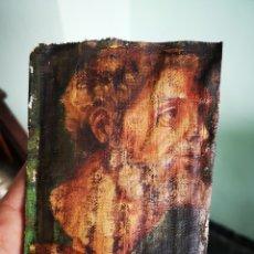 Kunst - Interesante fragmento de obra al oleo sobre lienzo, retrato masculino, 9x13cm muy antiguo - 149603205