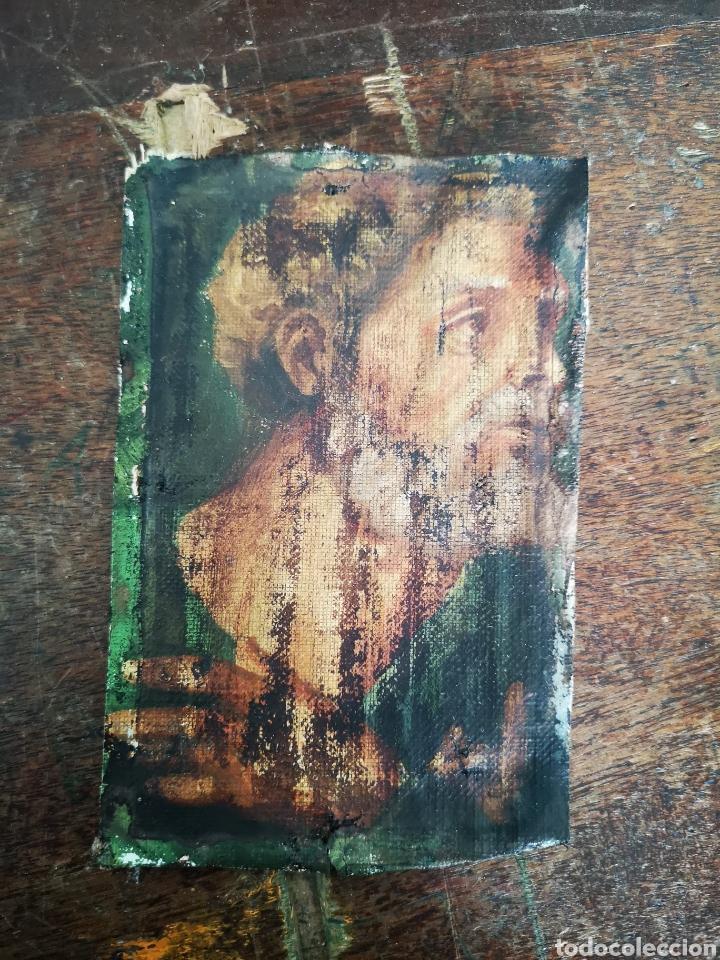 Arte: Interesante fragmento de obra al oleo sobre lienzo, retrato masculino, 9x13cm muy antiguo - Foto 2 - 149603205