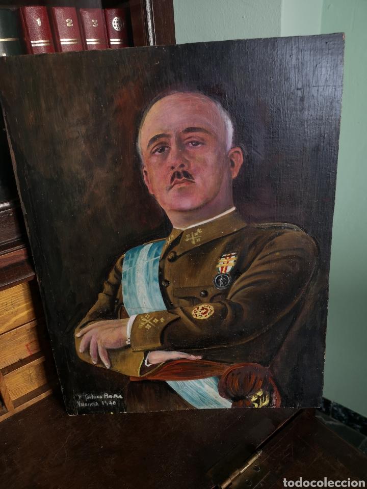 RETRATO PINTADO AL OLEO DE FRANCISCO FRANCO, FIRMADO Y FECHADO EN VALENCIA, 1940, MEDIDAS 39X30CM (Arte - Pintura - Pintura al Óleo Contemporánea )
