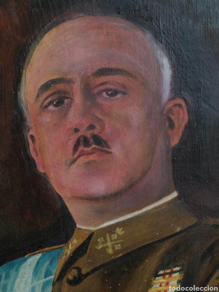 Arte: Retrato pintado al oleo de Francisco Franco, firmado y fechado en Valencia, 1940, medidas 39x30cm - Foto 2 - 149606178