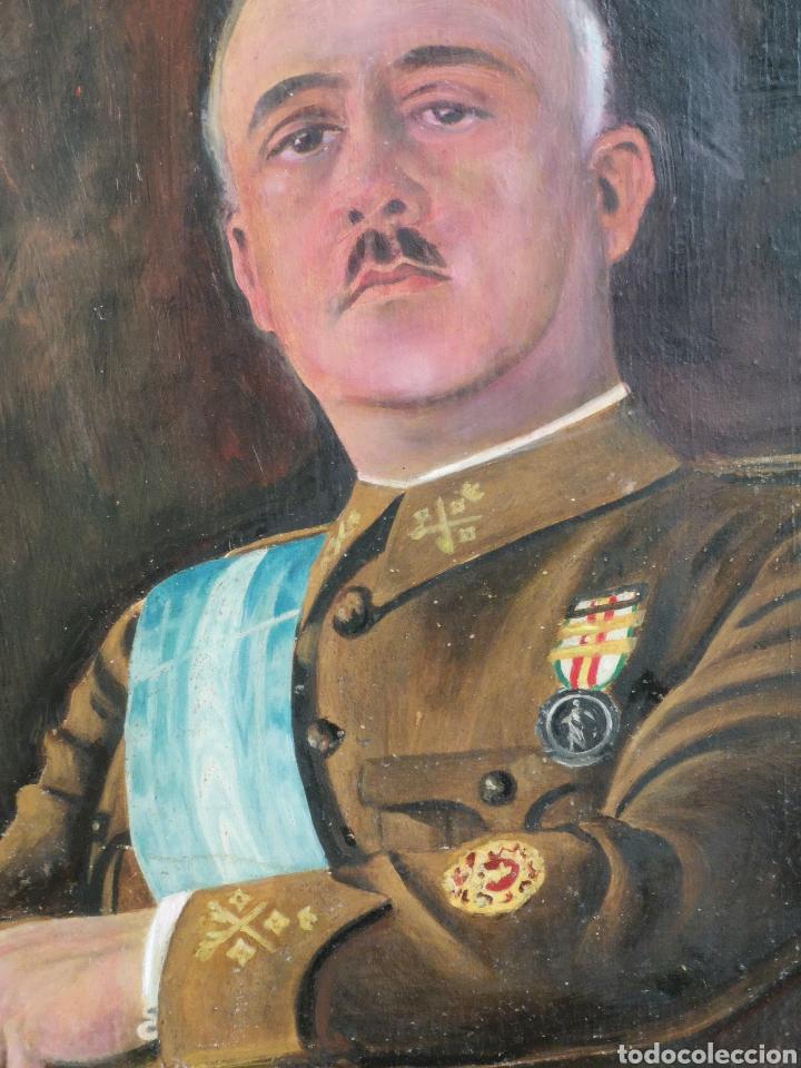 Arte: Retrato pintado al oleo de Francisco Franco, firmado y fechado en Valencia, 1940, medidas 39x30cm - Foto 3 - 149606178