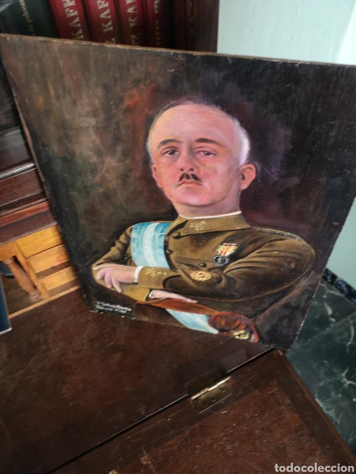 Arte: Retrato pintado al oleo de Francisco Franco, firmado y fechado en Valencia, 1940, medidas 39x30cm - Foto 4 - 149606178
