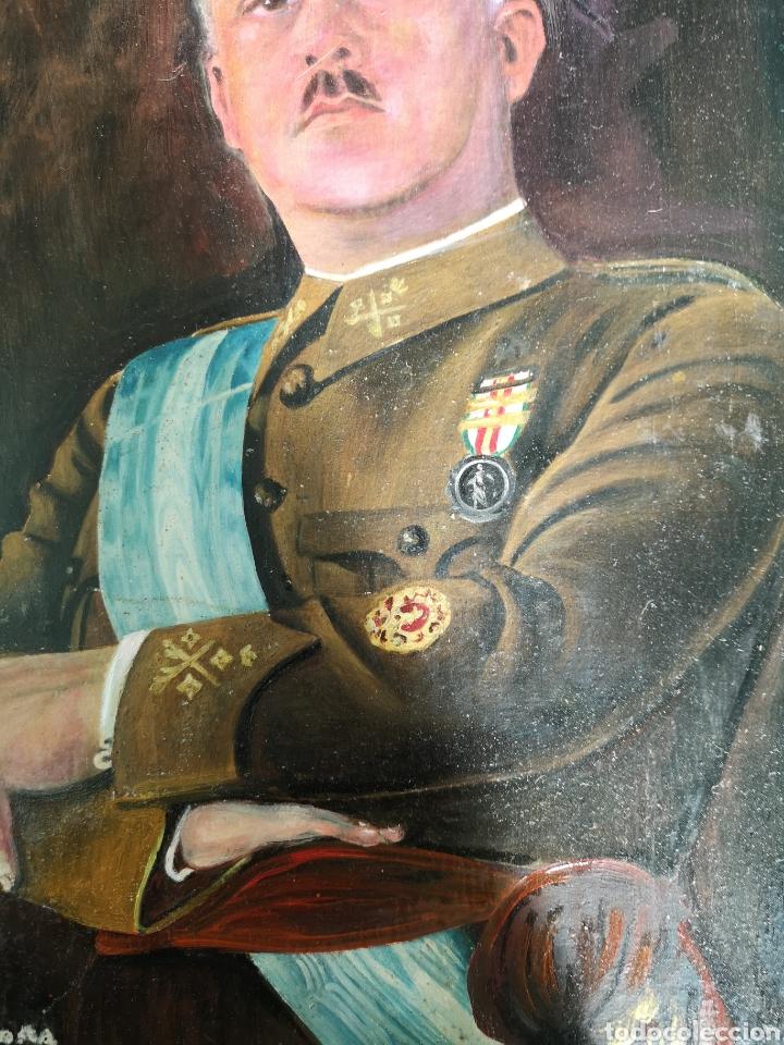 Arte: Retrato pintado al oleo de Francisco Franco, firmado y fechado en Valencia, 1940, medidas 39x30cm - Foto 6 - 149606178