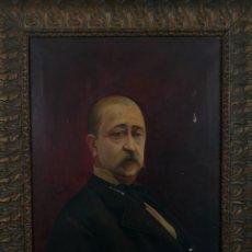 Arte: HONORIO ROMERO OROZCO (1867-1920) OLEO SOBRE LIENZO, RETRATO DE CABALLERO. 55X74CM. Lote 149648782