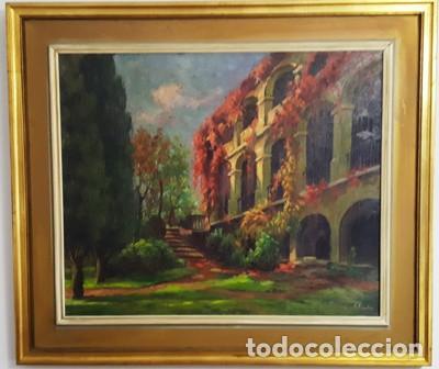 GRANDE Y ANTIGUO CUADRO OLEO SOBRE TELA DE M. PUJADAS - SALA VALLPARADIS - (Arte - Pintura - Pintura al Óleo Moderna siglo XIX)