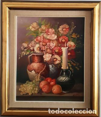 ANTIGUO BODEGON MIXTO FLORAL AL OLEO SOBRE TELA FIRMADO - (Arte - Pintura - Pintura al Óleo Moderna siglo XIX)