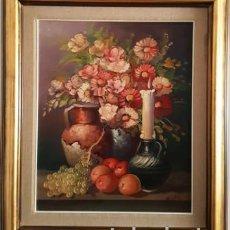 Arte: ANTIGUO BODEGON MIXTO FLORAL AL OLEO SOBRE TELA FIRMADO -. Lote 149656838