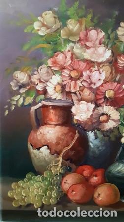 Arte: ANTIGUO BODEGON MIXTO FLORAL AL OLEO SOBRE TELA FIRMADO - - Foto 2 - 149656838