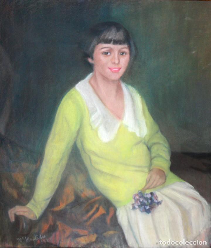 MARIA MUNTADAS DE CAPARÁ (BARCELONA, 1890 - 1965) TECNICA MIXTA SOBRE TELA FECHADO DE AÑO 1927 (Arte - Pintura - Pintura al Óleo Contemporánea )